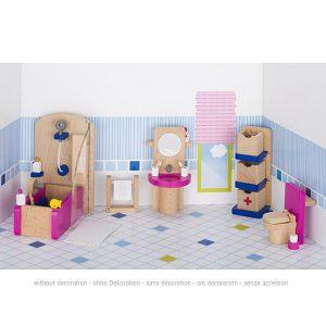 Drveni namještaj za kućicu za lutke - Kupaonica