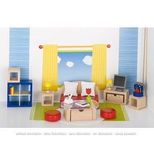 Drveni namještaj za kuću za lutke – Dnevni boravak