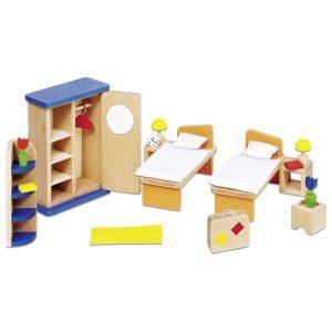 Drveni namještaj za kućicu za lutke - Spavaća soba